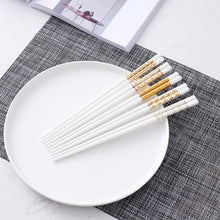 Load image into Gallery viewer, Bone Porcelain Chinese Ceramic Chopsticks | Gold Squares (5 Pairs)
