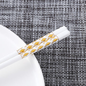 Bone Porcelain Chinese Ceramic Chopsticks | Gold Diamond (5 Pairs)