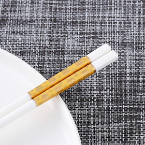 Bone Porcelain Chinese Ceramic Chopsticks | Gold Prosperity (5 Pairs)
