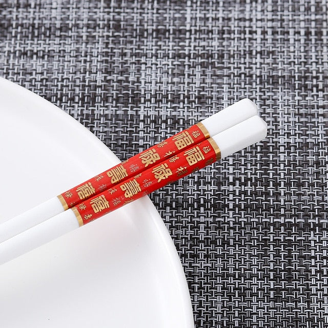 Bone Porcelain Chinese Ceramic Chopsticks | Red Prosperity (5 Pairs)