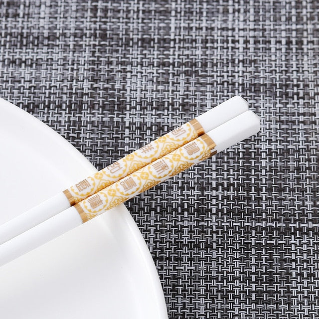Bone Porcelain Chinese Ceramic Chopsticks | Gold Seal (5 Pairs)