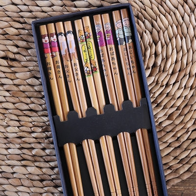 Decorated Japanese Style Cartoons Bamboo Chopstick Set (5 pairs)