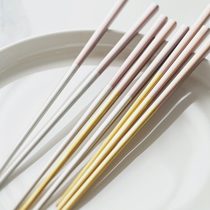 Gold/Silver Stainless Steel Chopstick Set (5 pairs)
