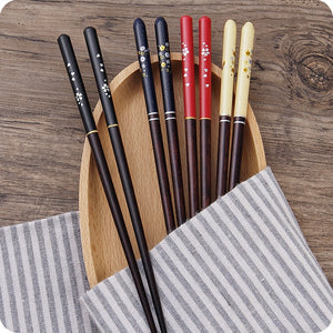 Japanese Cherry Wooden Chopsticks | Black and Yellow (2 Pairs)