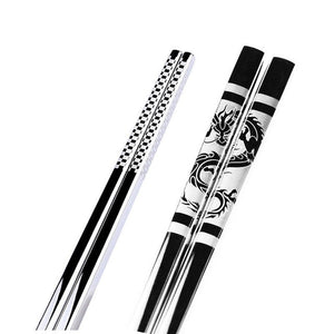 Anti Skid Stainless Steel Dragon Chopstick (1 pair)