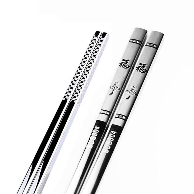 Anti Skid Stainless Steel Fortune Chopstick (1 pair)