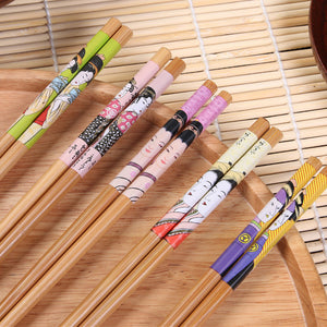 Japanese Inspired Paintings Chopstick Set (5 Pairs)