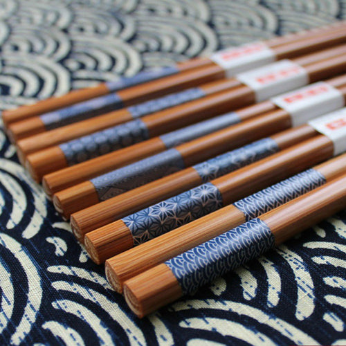 Natural Wood Bamboo Chopsticks with Blue Patterns (5 pairs)