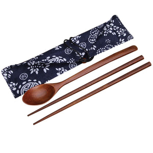 Natural Wood Chopstick and Spoon Set