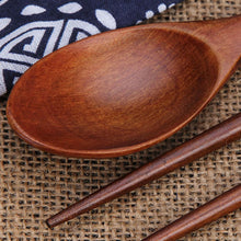 Load image into Gallery viewer, Natural Wood Chopstick and Spoon Set
