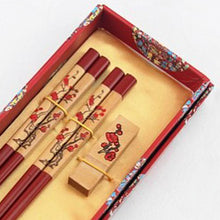 Load image into Gallery viewer, Red Wood Cherry Blossom Chopstick and Holder Luxury Gift Set (2 pairs)