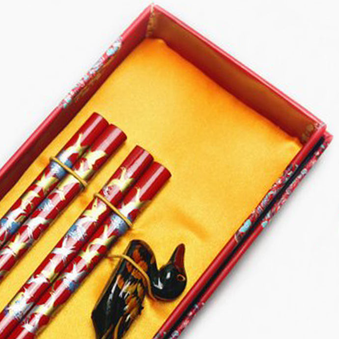 Ornate Festive Duck Chopstick and Holder Luxury Gift Set (2 pairs)