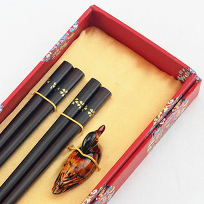 Dark Simple Flower Chopstick and Holder Luxury Gift Set (2 pairs)