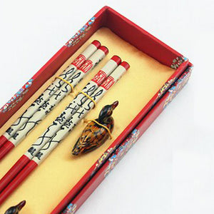 Red Calligraphy with Duck Chopstick and Holder Luxury Gift Set (2 pairs)