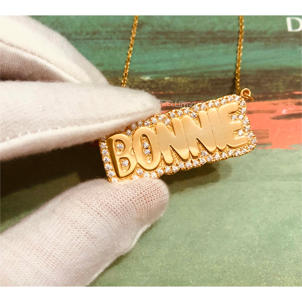 New Bling Bubble Name Necklace
