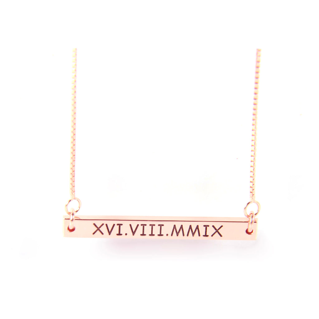Custom roman numeral bar necklace