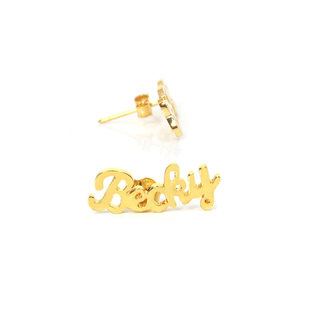 curve name stud earrings