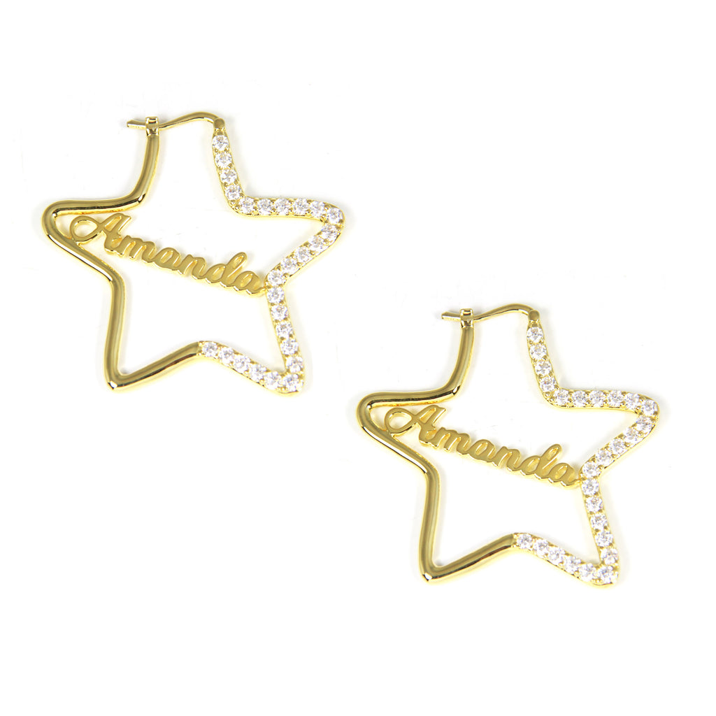 star hoop name earrings dangle diamond