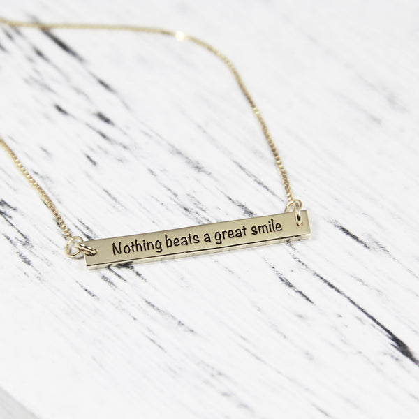 personalized engraved bar necklace silver