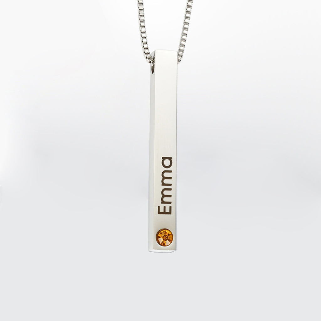 3d Bar Necklace engraved