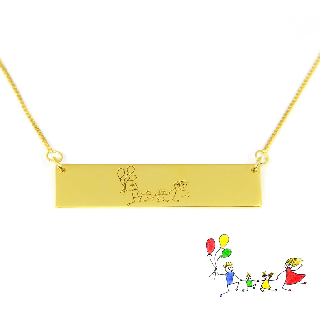 kid's drawing engraved necklace