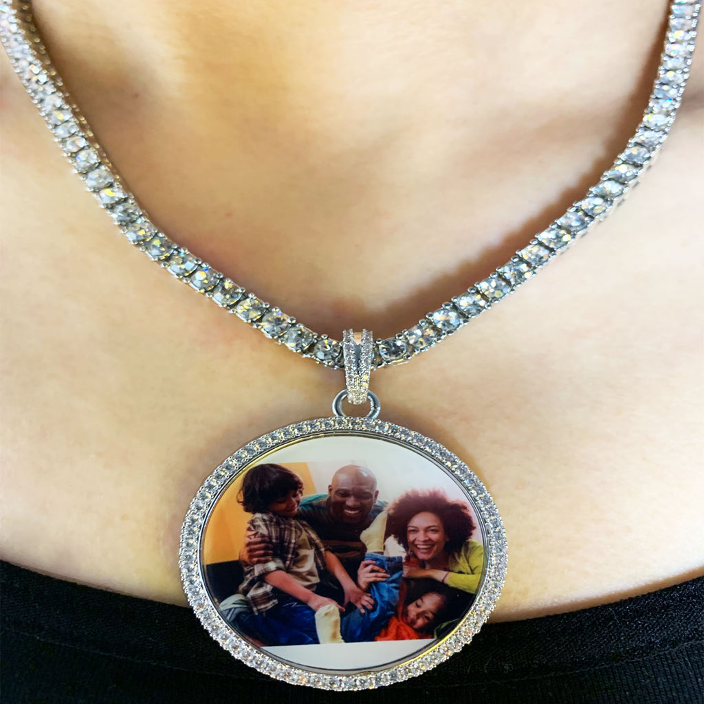 Personalized bling Photo Charm Necklace