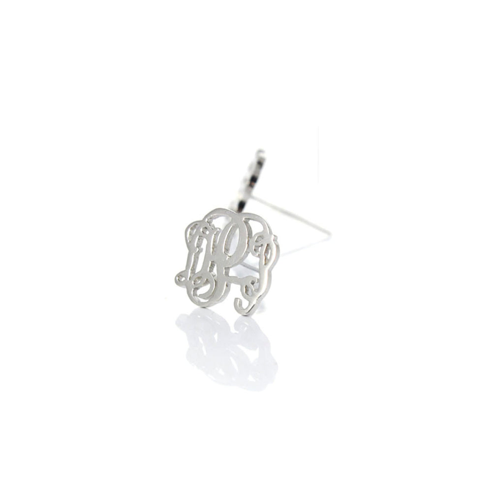 sterling silver initial earrings monogram