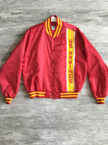 Distressed Red and Yellow U.S. Marine Varsity Jacket - Closet Freekz