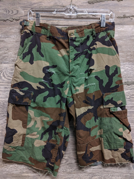 Camo Ripped Surplus Shorts