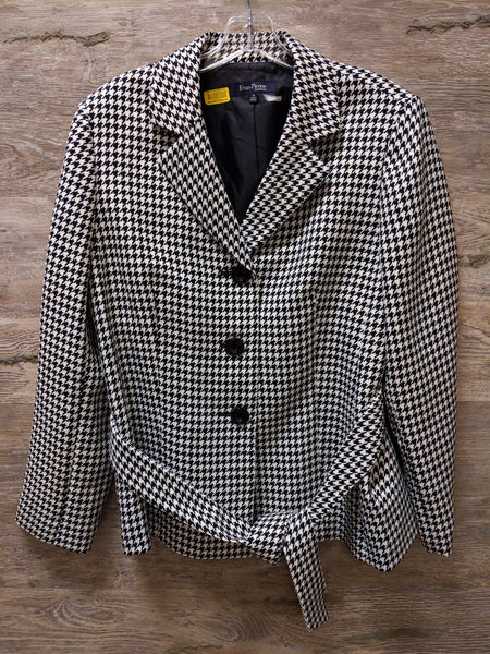 Evan Picone Black and White Houndstooth Belted Jacket