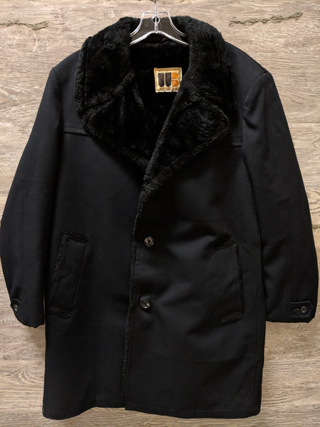 William Barry Black Ribbed Coat with Fur Lining