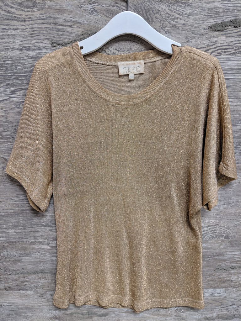 Cache Gold Shimmer Retro Top