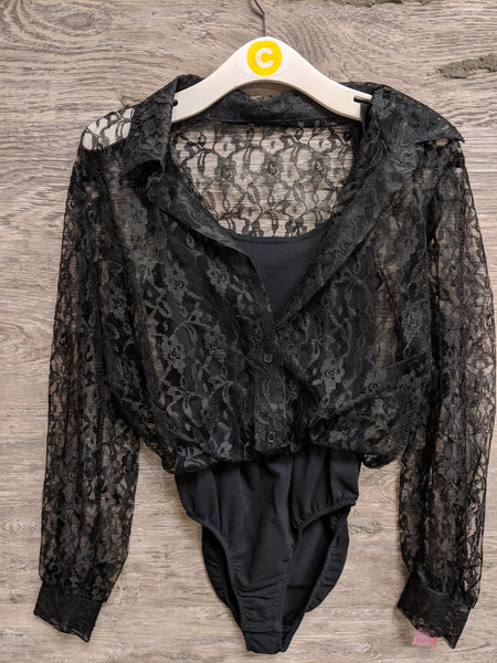 Joule Black Lace Bodysuit with Shirt Underneath