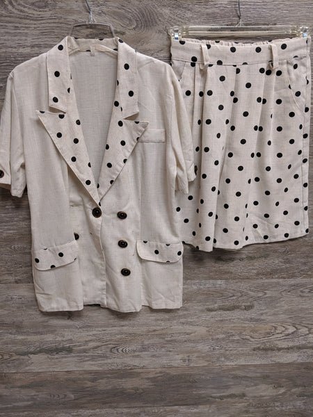 Cream and Black Polka Dot Linen Shorts Set