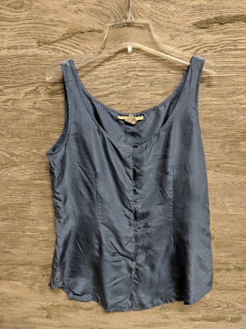 Studio Silk Blue Button Up Silk Tank
