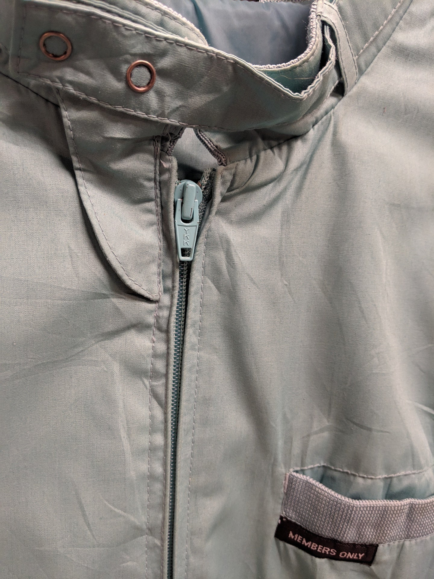 Members Only Baby Blue Zip Racer Jacket