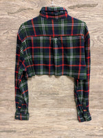 Chaps Blue and Green Plaid Button Up Crop Top