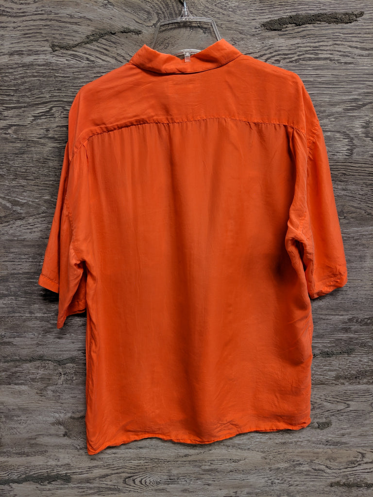 AS IS - Studio GA Orange Silk Button Up Top
