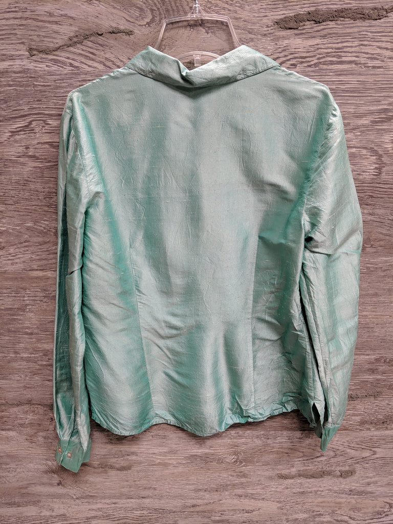 AS IS - Worthington Mint Green Long Sleeve Silk Button Up