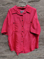 Outfitters Pink Silk Button Up Top
