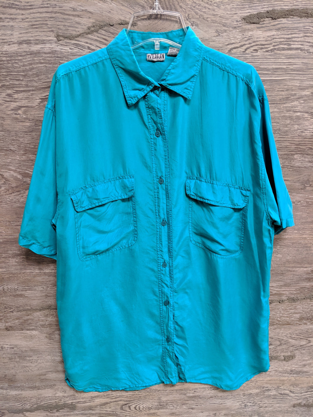 Wehun Teal Silk Button Up - Closet Freekz