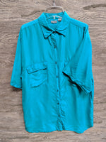 Wehun Teal Silk Button Up