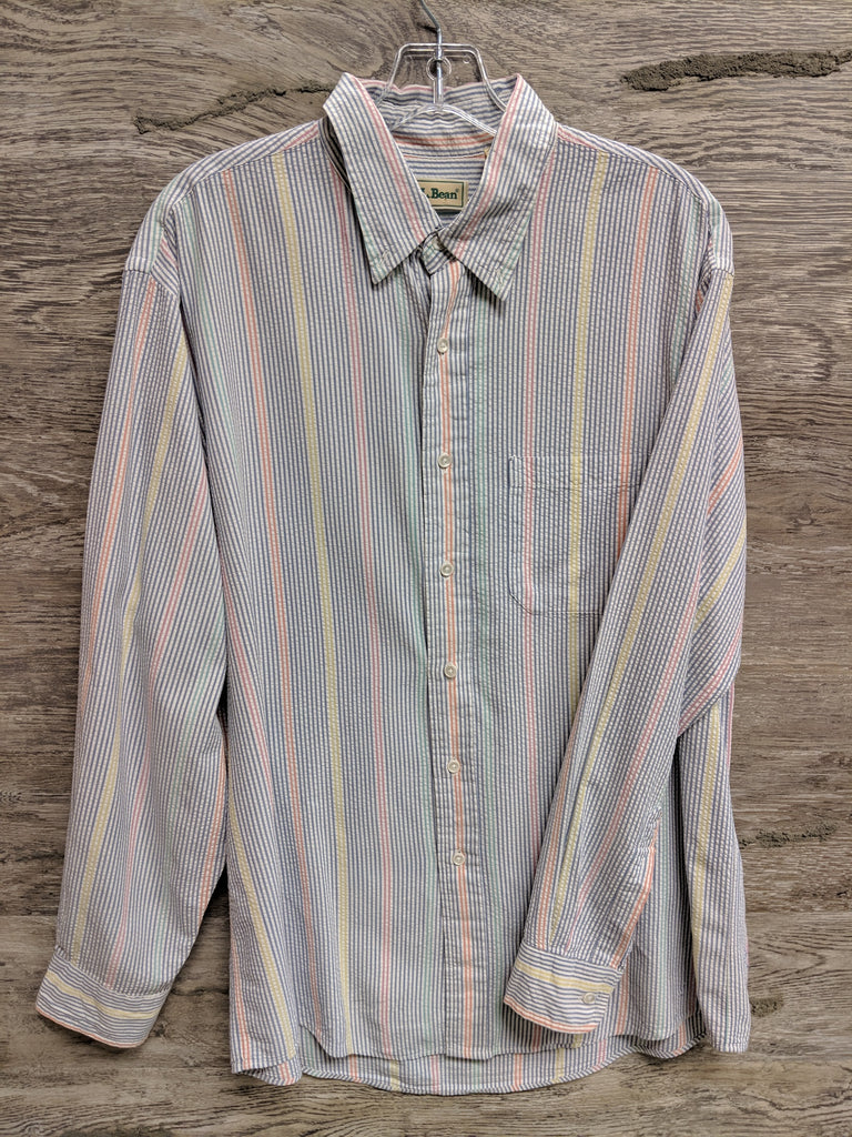 LL Bean Multi-Color Pinstripe Button Up