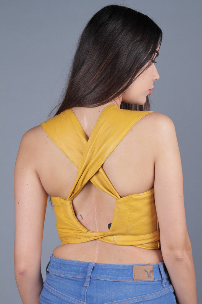 AS IS- Cross-back Leather Halter Top