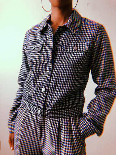 Jeanology Black and White Houndstooth Retro Jacket - Closet Freekz