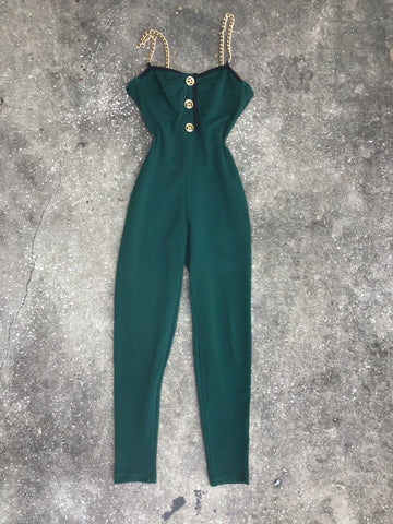 Workshop Clothing Green Ribbed Jumpsuit with Gold Chain Straps