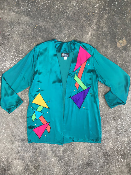 Silver Threads Teal Tetris Blazer
