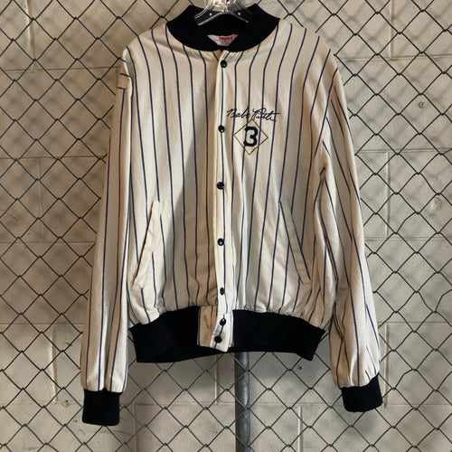 Empire White and Navy Stripe Babe Ruth Baseball Bomber - Closet Freekz