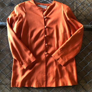 Evan-Picone Orange Long Line Button Up - Closet Freekz