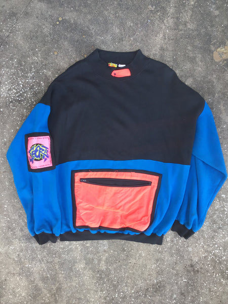 Generation One Retro Black and Blue Crewneck with Front Pocket